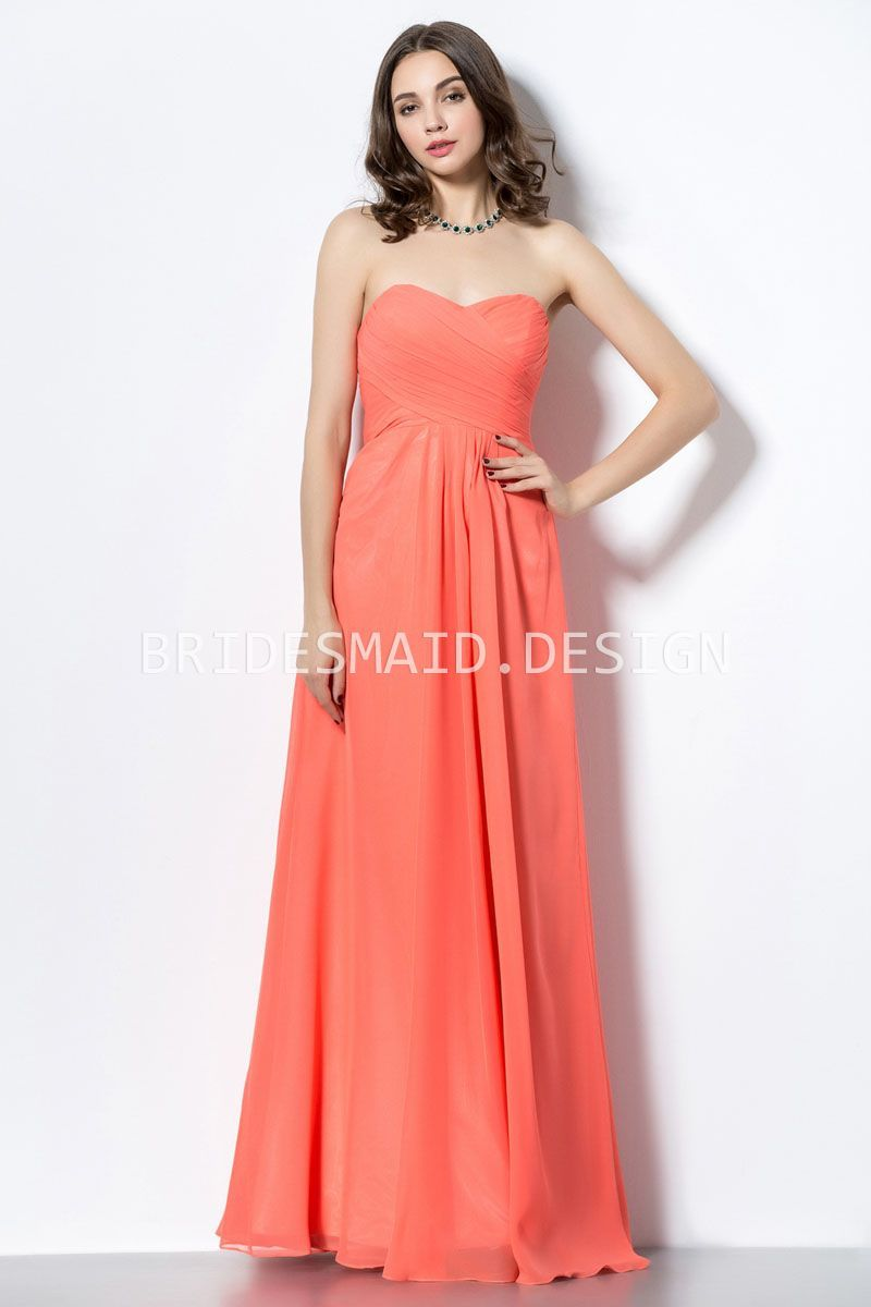 Simple casual orange chiffon strapless sweetheart aline long