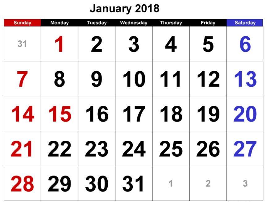 January  Calendar Template  Maxcalendars