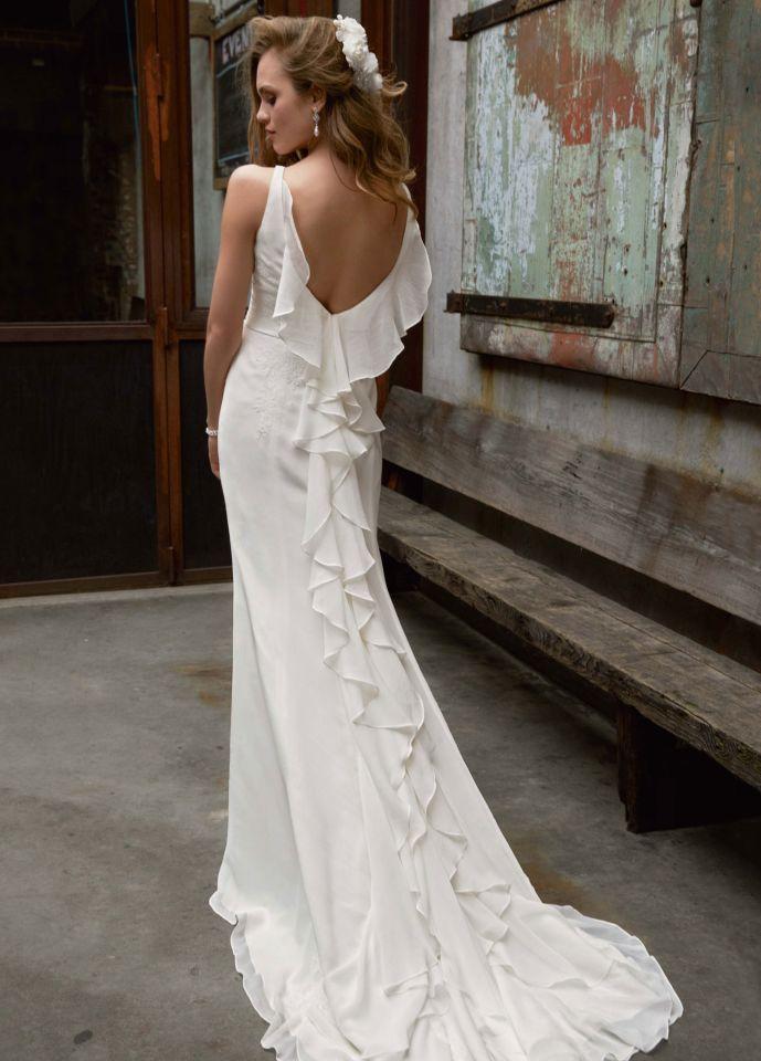 f9beb8da642 Galina MB3491. I love the cascading ruffles down the back. Galina Wedding  Dress
