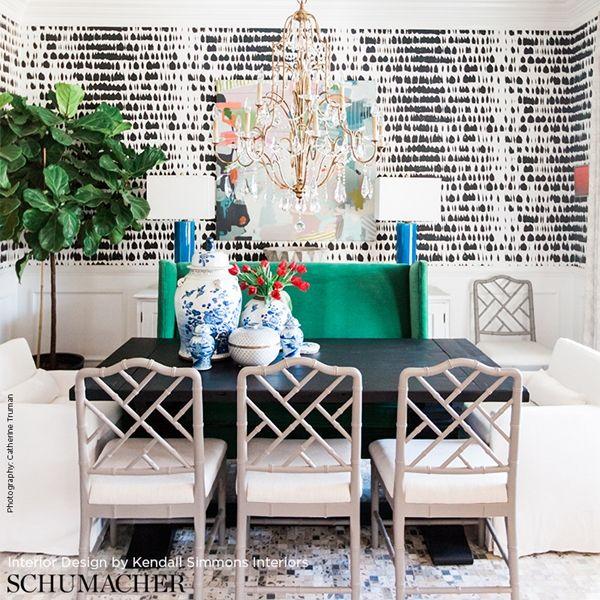 Schumacher Queen Of Spain wallpaper Stylish dining