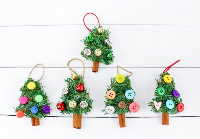 A Fun Diy Christmas Tree Ornament Craft Made Using Wreath Garland Cinnamon S Christmas Tree Ornament Crafts Stick Christmas Tree Diy Christmas Tree Ornaments