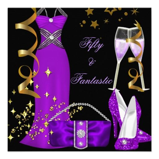 50 Fantastic Purple Dress Black Gold Birthday Custom Announcements