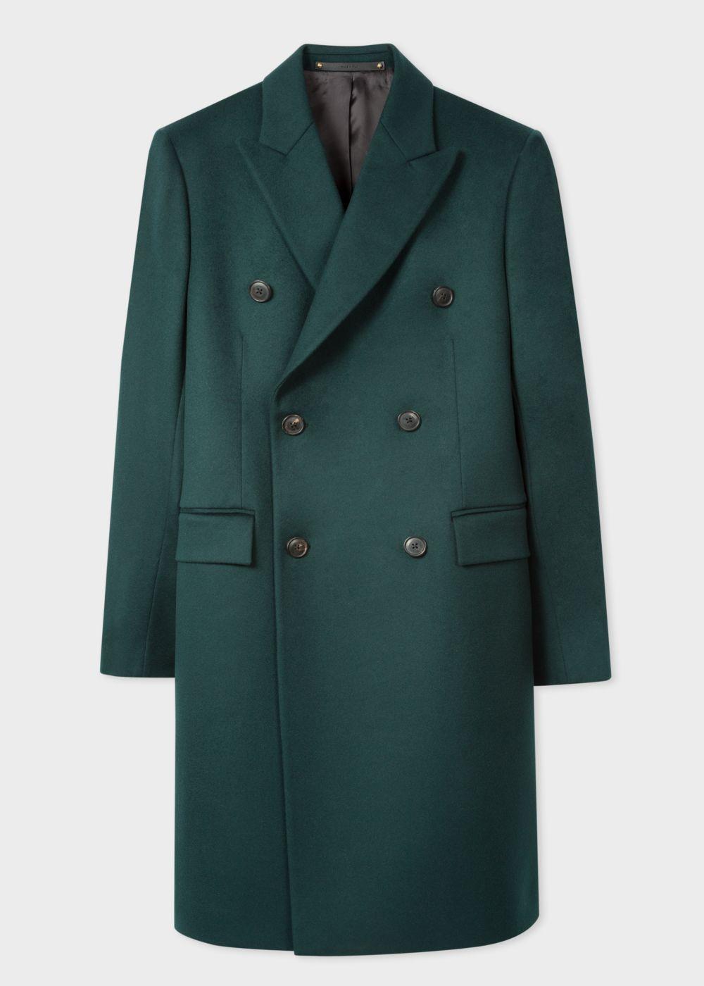 Men S Dark Green Double Breasted Wool And Cashmere Overcoat Paul Smith Cashmere Overcoat Designer Jackets For Men Overcoats [ 1400 x 1000 Pixel ]