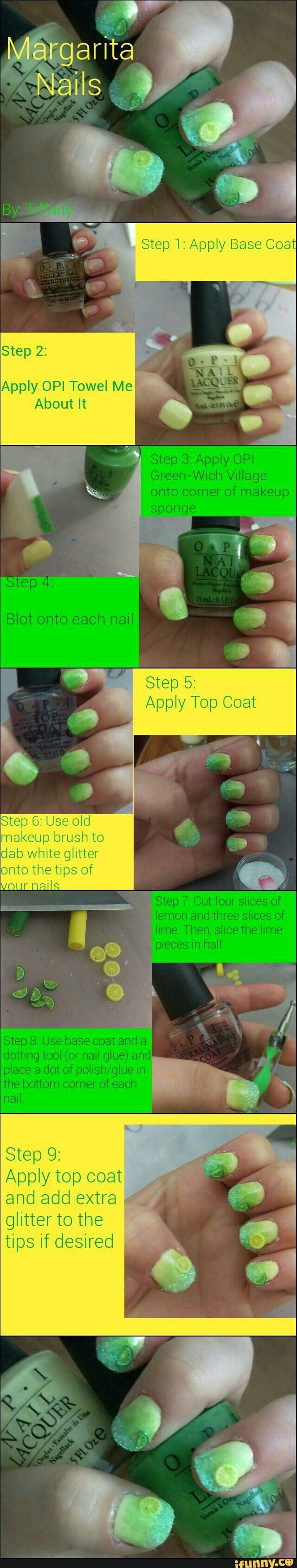 How-To Margarita Nails using OPI   Spring Nails   Pinterest