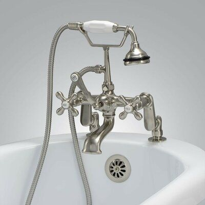 Chevington Triple Handle Deck Mounted Clawfoot Tub Faucet With