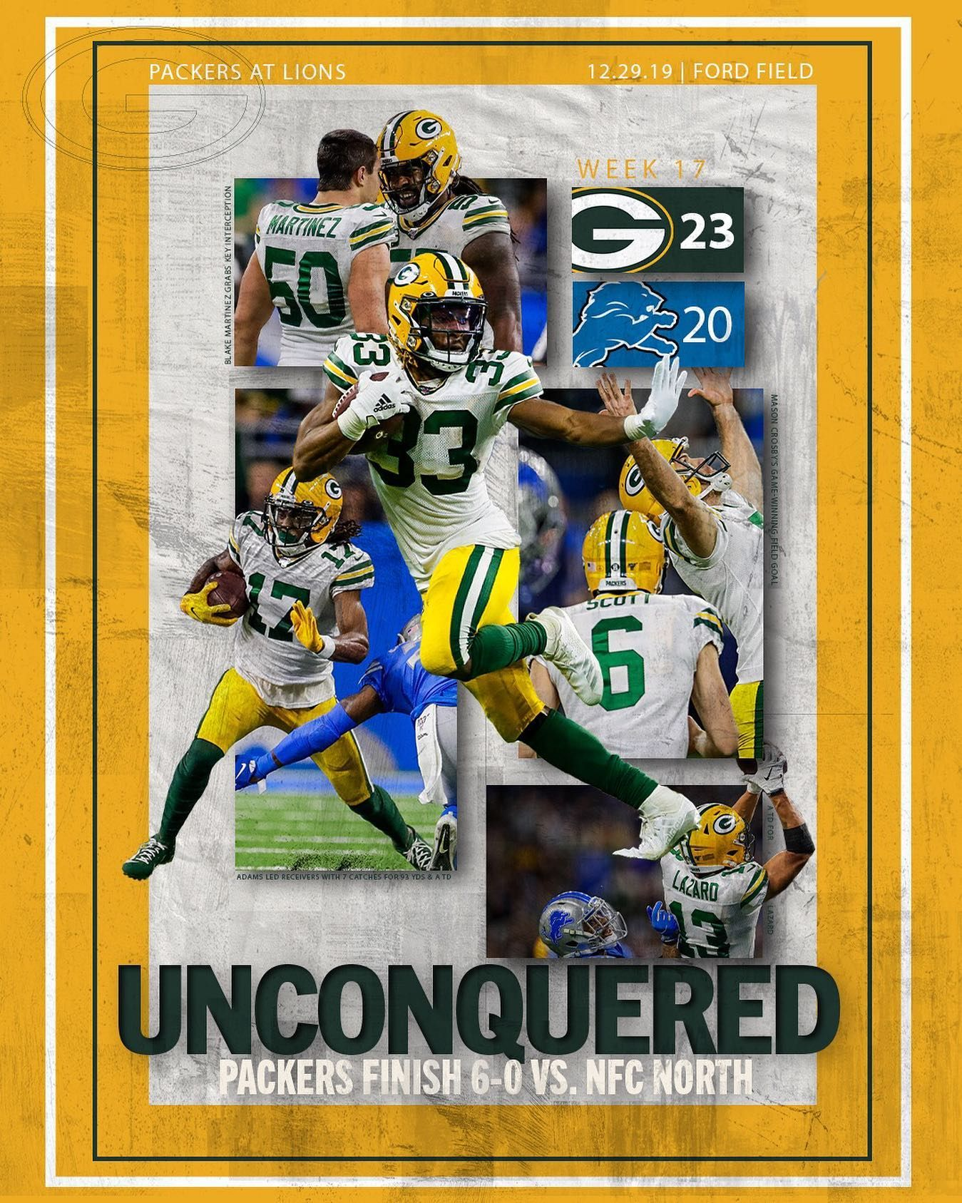 Unconquered In The Nfc North Week 17 Victory Poster Gopackgo Nfc North Green Bay Packers Packers