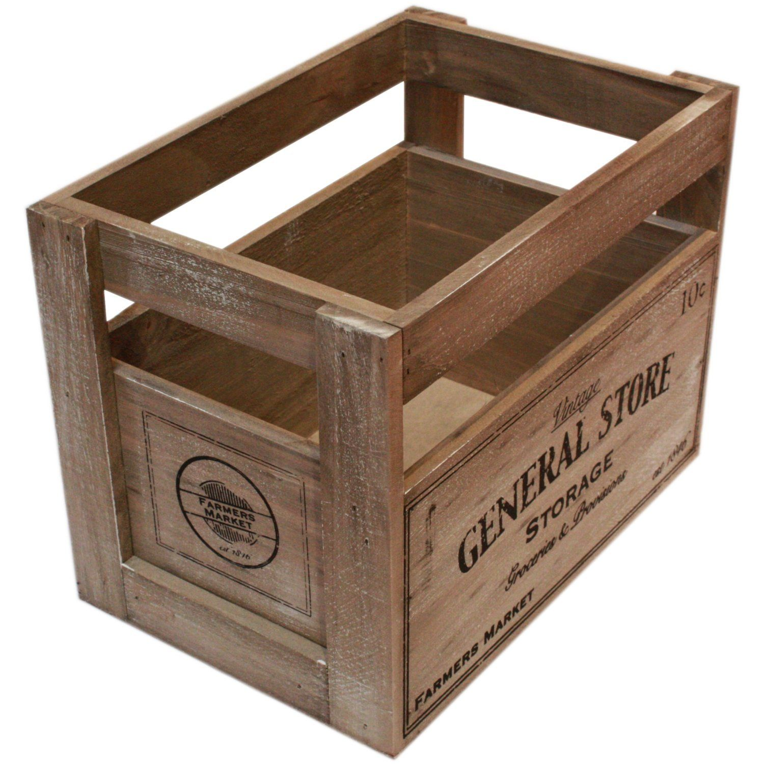 Small Rustic Farmers Market Design Vintage Wooden Crate (H 20Cm)