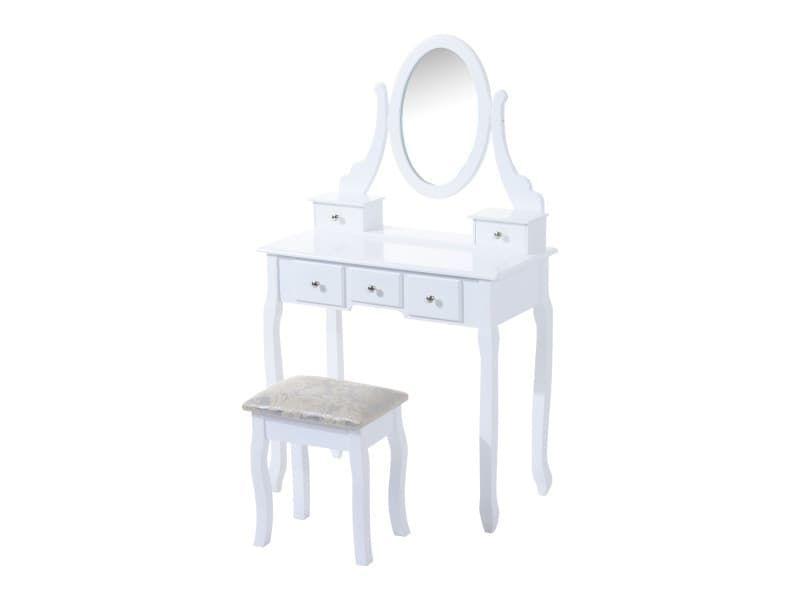 Coiffeuse Et Tabouret Style Baroque 5 Tiroirs Et Miroir Ovale Pivotant Blanc 98 Vente De Homcom Confor Tabouret Coiffeuse Mobilier Italien Table De Commode
