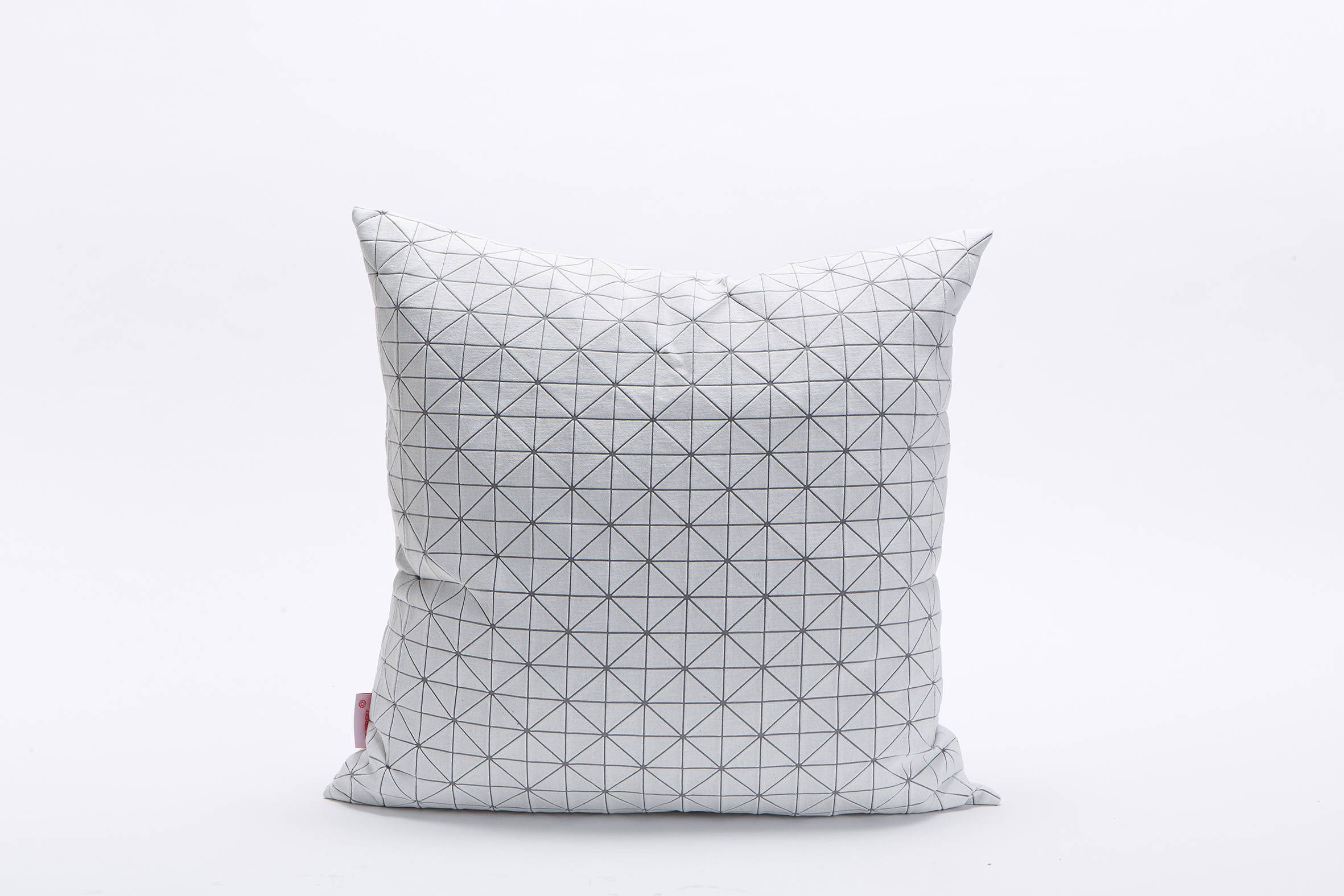 White on gray square geo origami cushion cover xud xcm