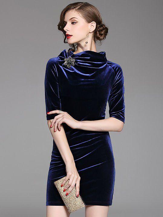 New Womens Ladies Long Sleeve Polo Neck Diamond Lazer Cut Zip Back Bodycon Dress