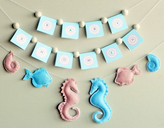 DIY Handmade - Soft Felt - Under the Sea Banner / Mobile - Includes Seahorse, Fish, Snail - Sewing Pattern. $4.00, via Etsy.