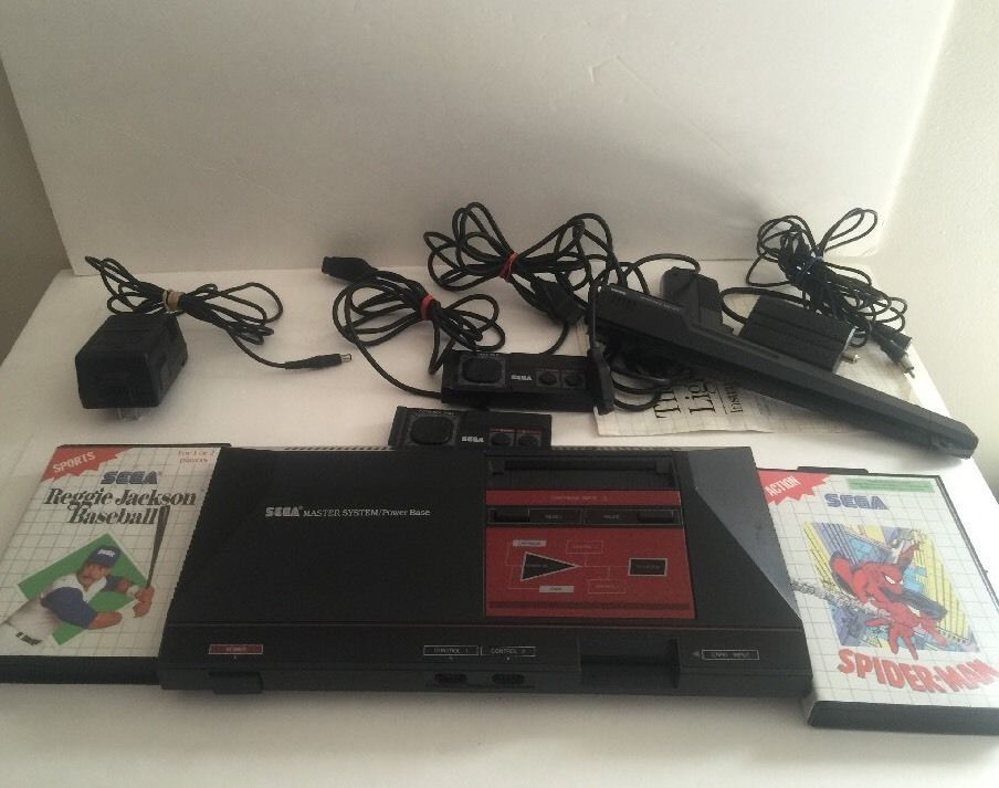 Sega Master System Console w Games 2 Controllers Light Phaser Cables Read | eBay