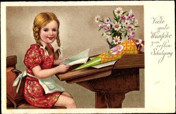 postcard gl ckwunsch einschulung m dchen schreibtisch zuckert te einschulung. Black Bedroom Furniture Sets. Home Design Ideas