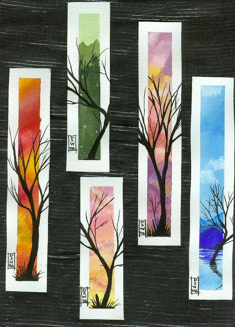 Watercolor bookmark patterns - Were Origonally Watercolour Paper And Watercolour Paint With Pen And Ink Trees But Could Use
