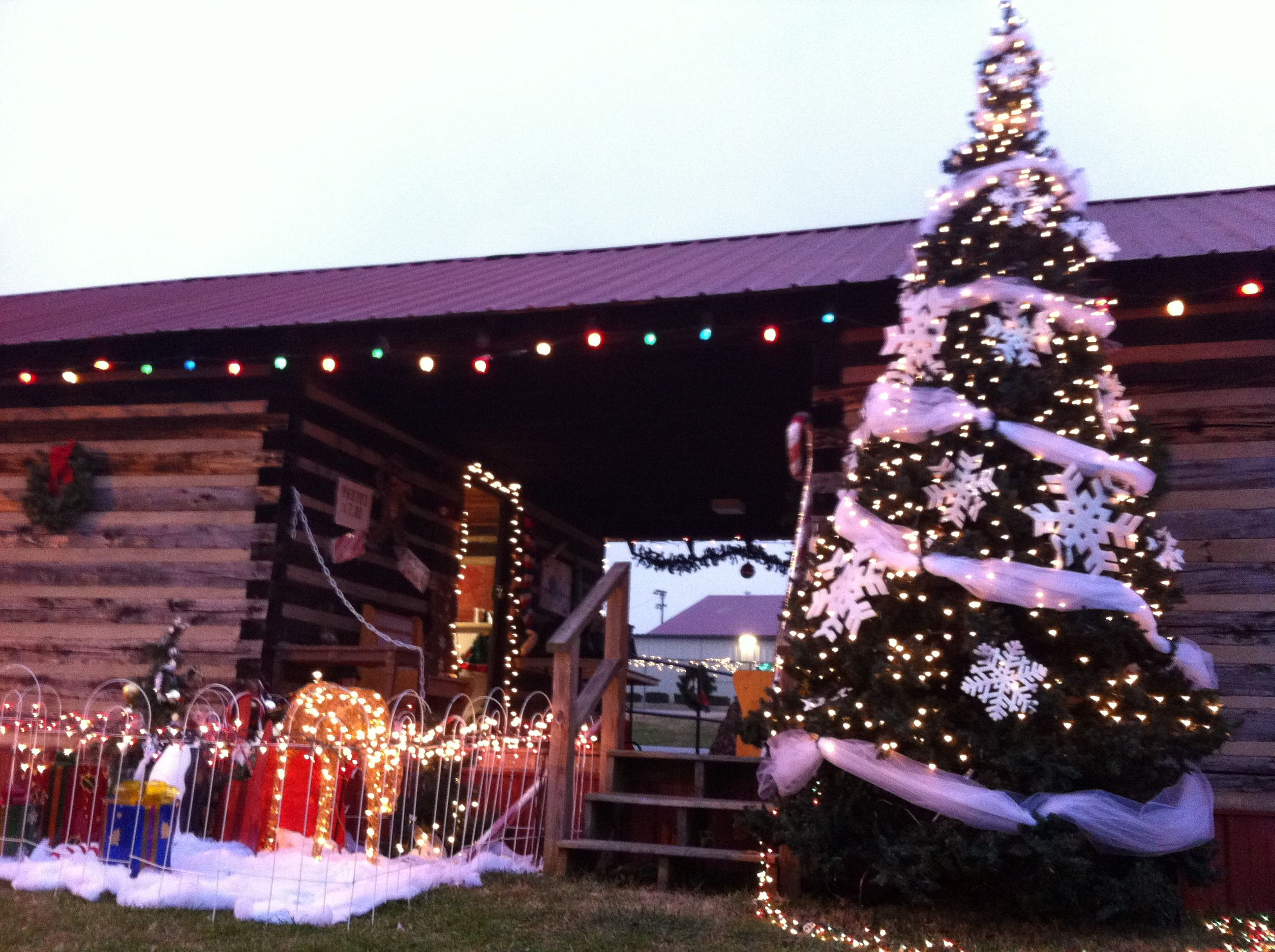 Christmas lights at park. Santa\u0027s cabin Columbia TN. Holiday decor ...