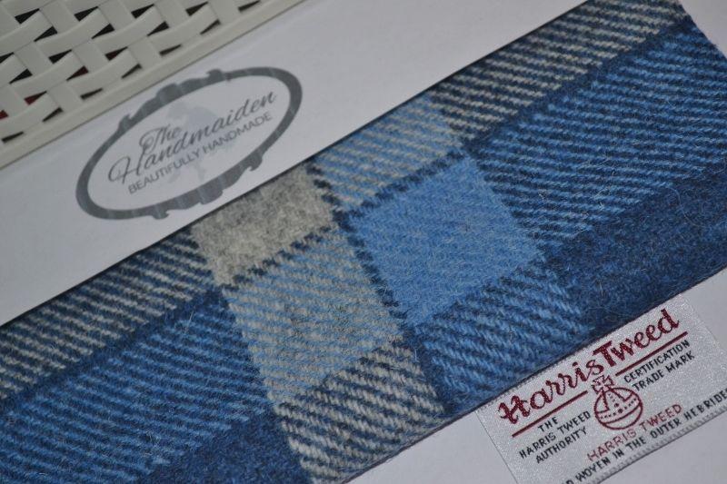 Harris Tweed Fabric /& labels TURQUOISE HERRINGBONE craft upholstery quilting sew
