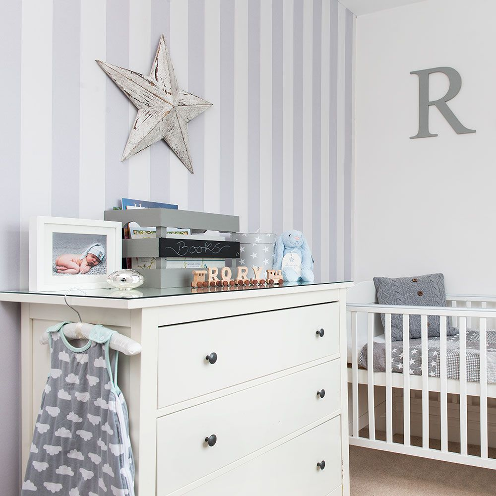 Grey Nursery With Striped Wallpaper And White Furniture Kids