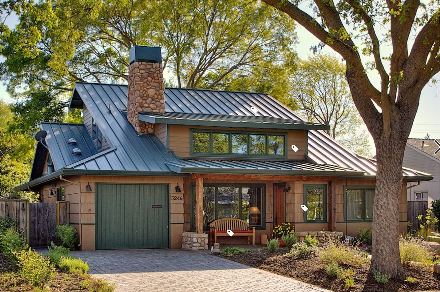 Full View Of Beautiful Home With Green Roof Green Roof House Metal Roof Houses Exterior Paint Colors For House