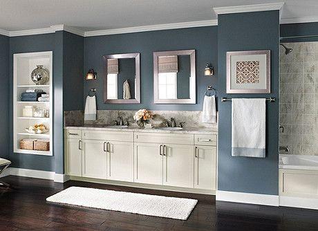 Emphasizing Elegance This Bath Balances Stormy Blue Walls