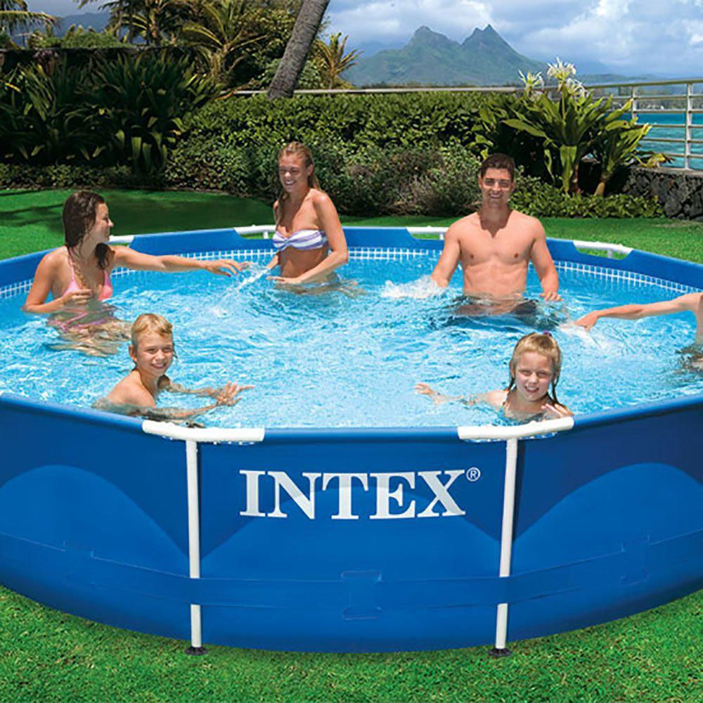 Intex 18 Ft X 48 In Metal Frame Swimming Pool Set With Pump Plus Filter Cartridges 6 28253eh 6 X 29000e The Home Depot Above Ground Swimming Pools Swimming Pool Filters Swimming Pools