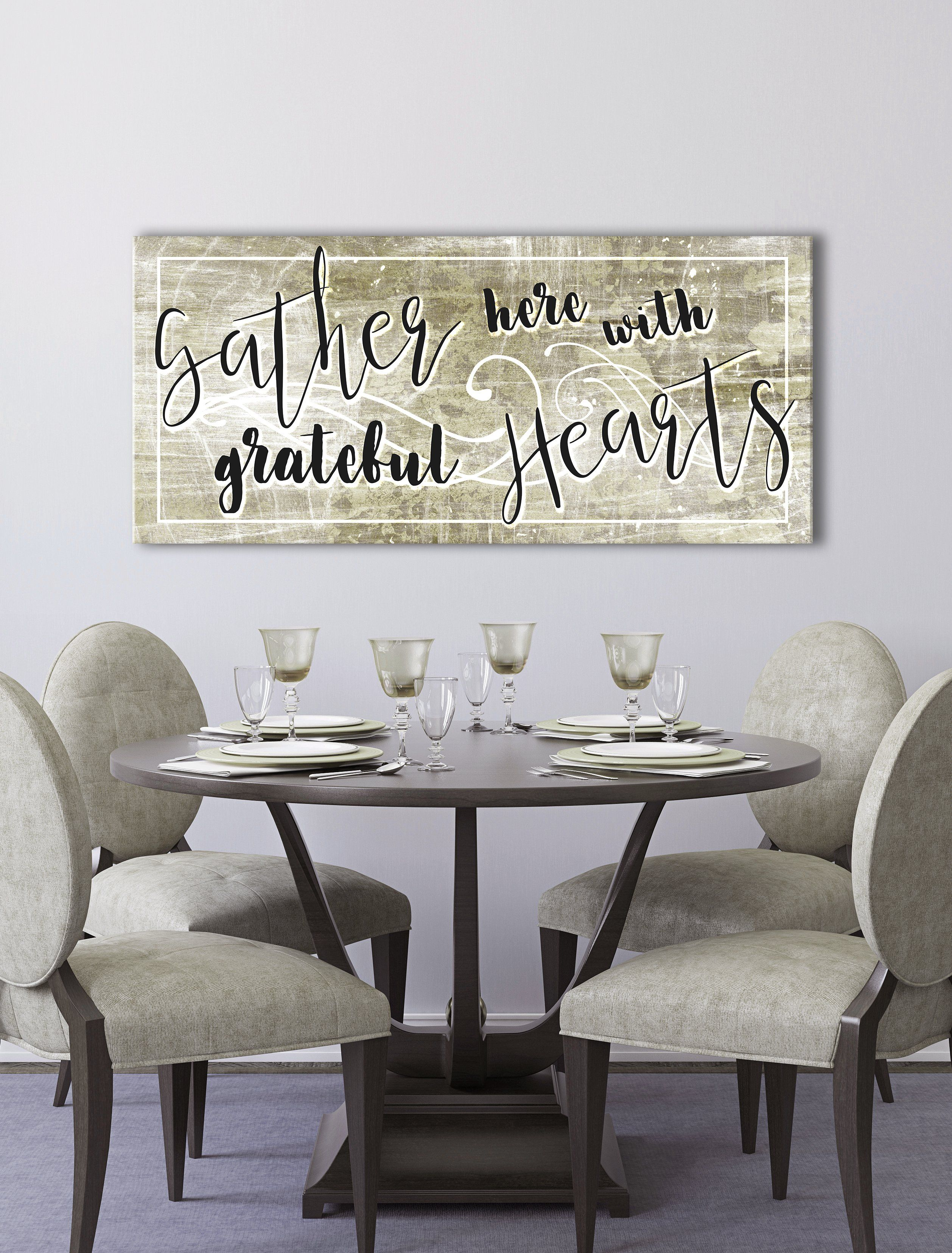 Home Wall Art Gather Here With Grateful Hearts Wood Frame Ready