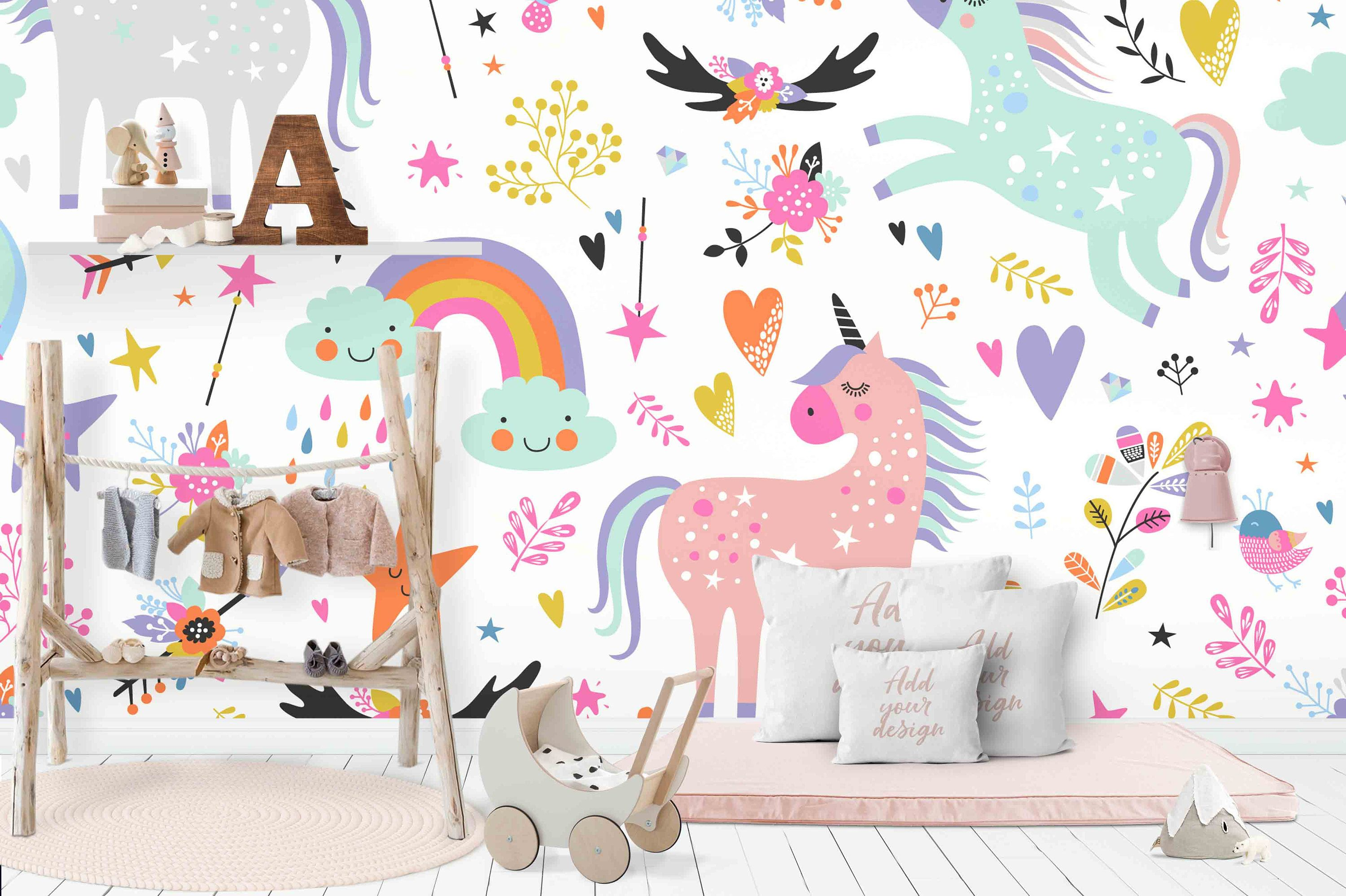 3d Unicorn Removable Wallpaperpeel And Stick Wall Mural Etsy Feature Wall Wallpaper Nursery Wall Stickers Kids Wall Decals