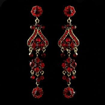 Dramatic Gold Plated Red Rhinestone Chandelier Earrings Affordable Elegance Bridal