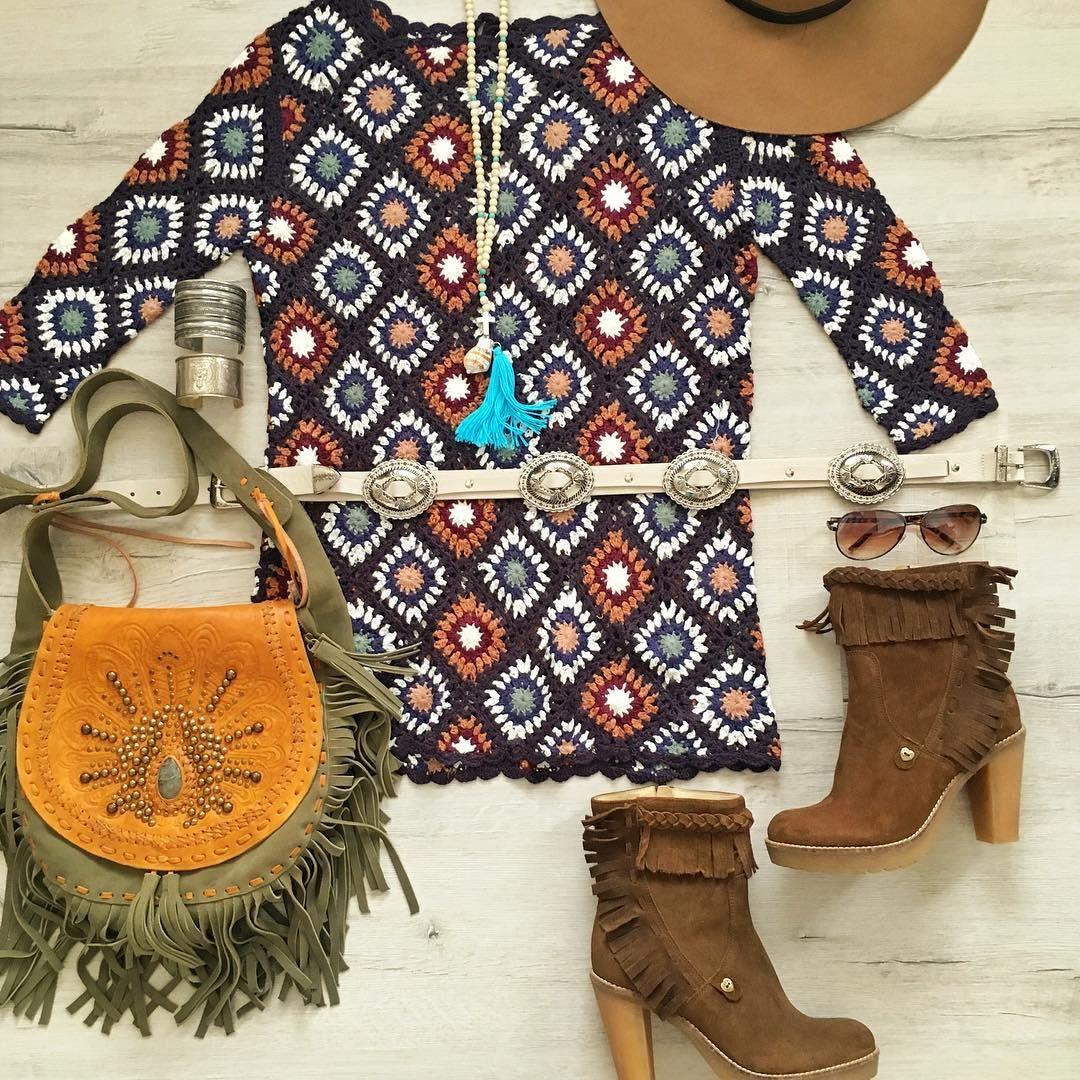 Monday's in crochet ✨ @zara  crochet mini | @jodileedesigns  fringe bag | @islaibizabonita boots ...