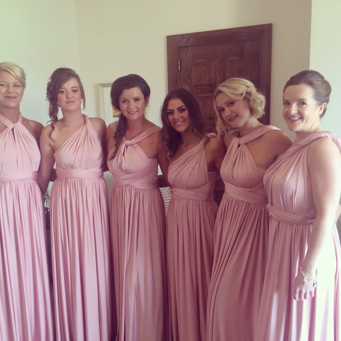 Bridesmaid dresses eliza and ethan pink dress two birds blushing bridesmaids shop these gorgeous wrap dresses in our blackrock boutique or call 012109077 ombrellifo Images