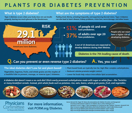 Plants for Diabetes Prevention | This infographic shows the current state of diabetes in the United States and how a plant-based diet can help.