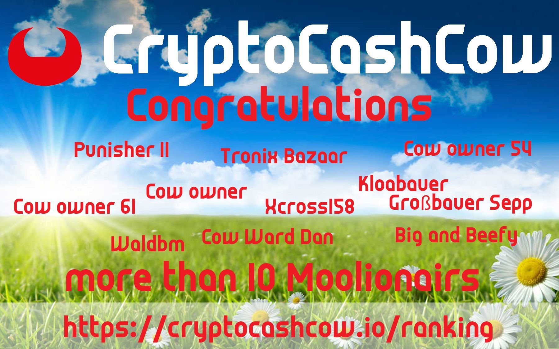 Cryptocashcow more that 10 moolionairs congratulations