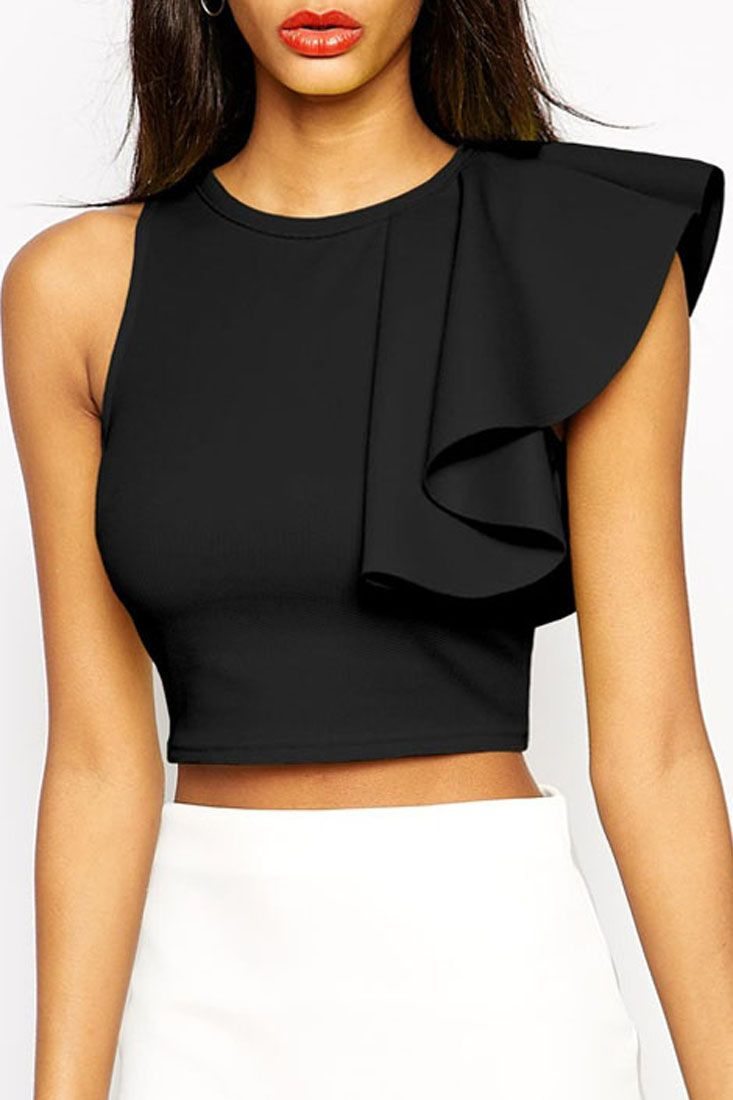 4d06d833678 Black One-shoulder Ruffle Crop Top. Pair with Skirt - Classy , understated  - What jewellery would suit this neckline though?