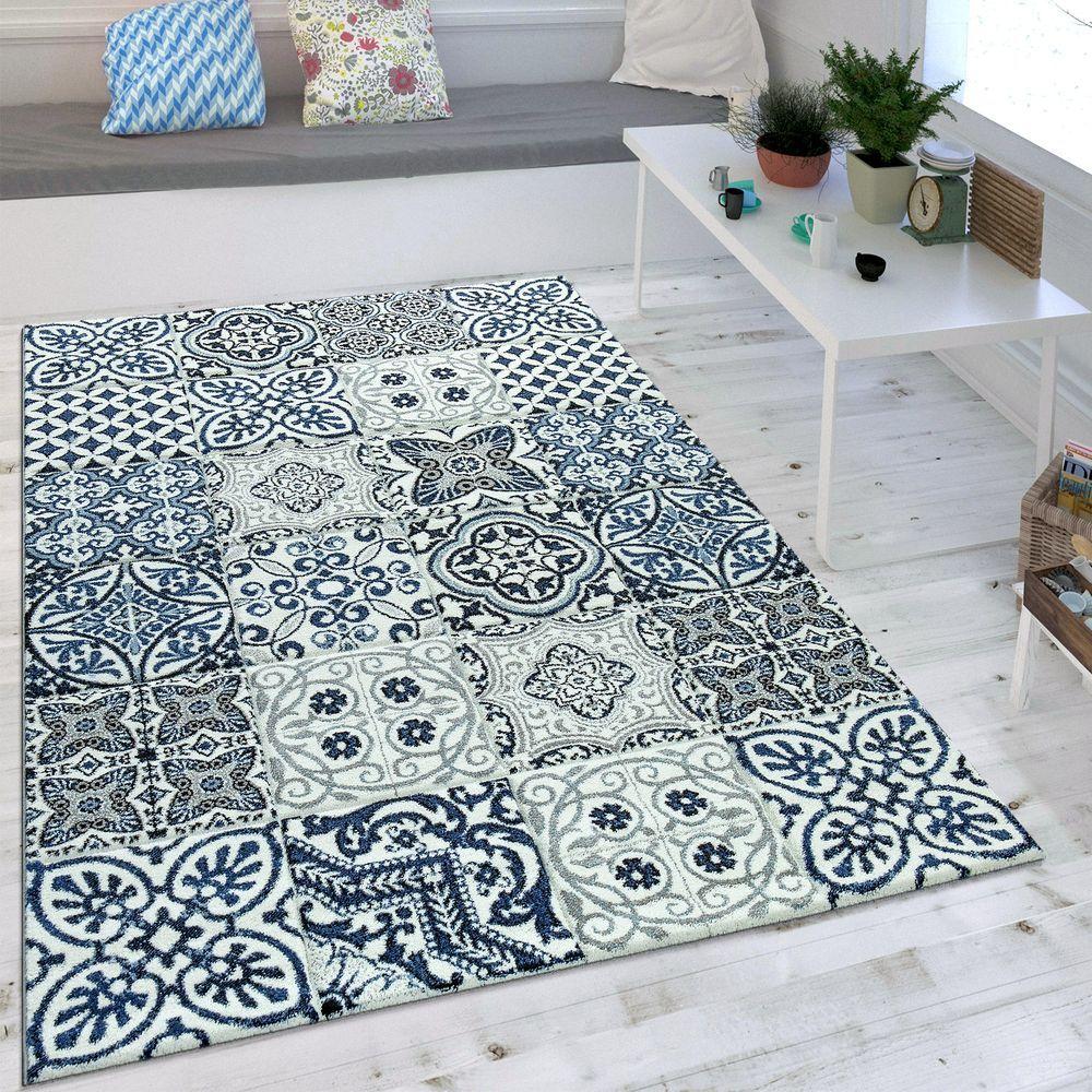 Teppich Modernes Orient Muster Blau Grau  Wohnzimmer teppich