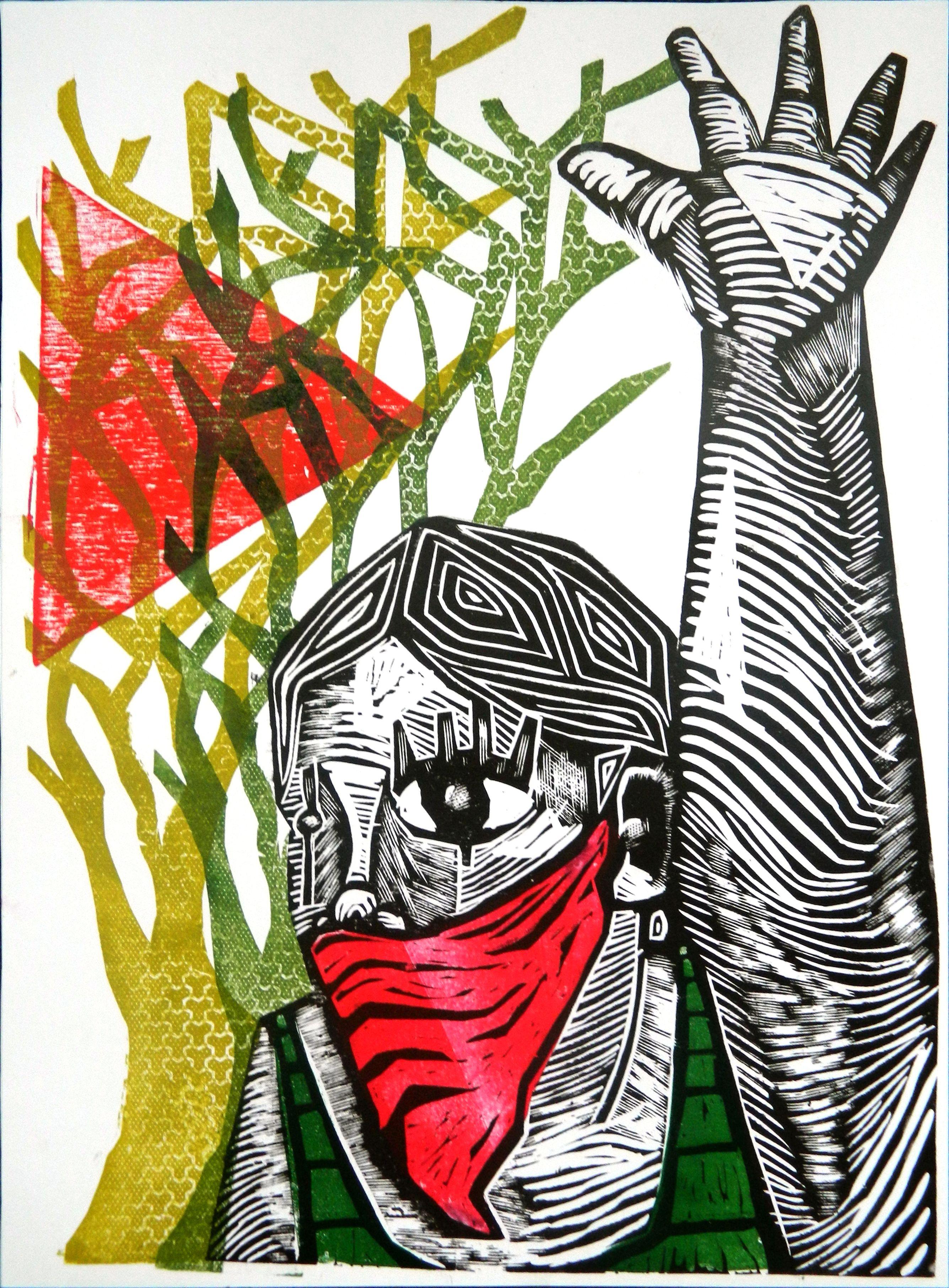 """""""Somos el color de la tierra"""", obra ganadora del I Salón de Grabado """"Palestina Libre"""". Artista: Lucho Galo Fuente: es.pinterest.com/cultpalestina/"""