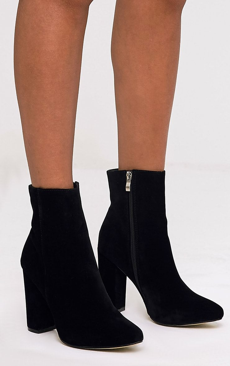 910077a3b1c70a Behati Black Suede Ankle Boots - Boots - PrettylittleThing    PrettyLittleThing USA