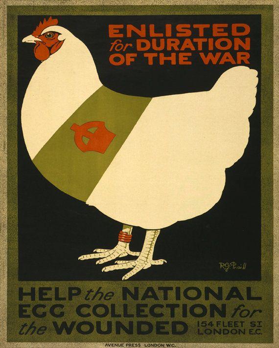 Kitchen Art Print 8x10 Chicken War Poster by cjprints on