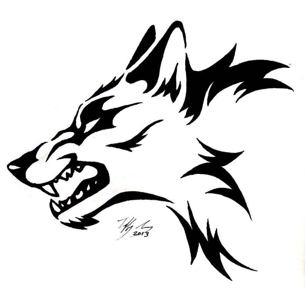 Line Drawing Animal Tattoos : Snarling wolf head tattoo by captainmorwen on deviantart