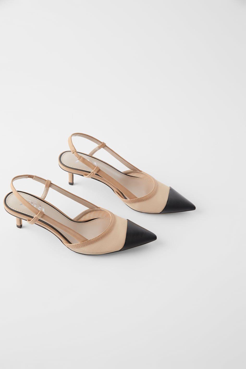 Mesh Slingback Heels View All Shoes Woman Zara United States Hal Skor Kvinnoskor