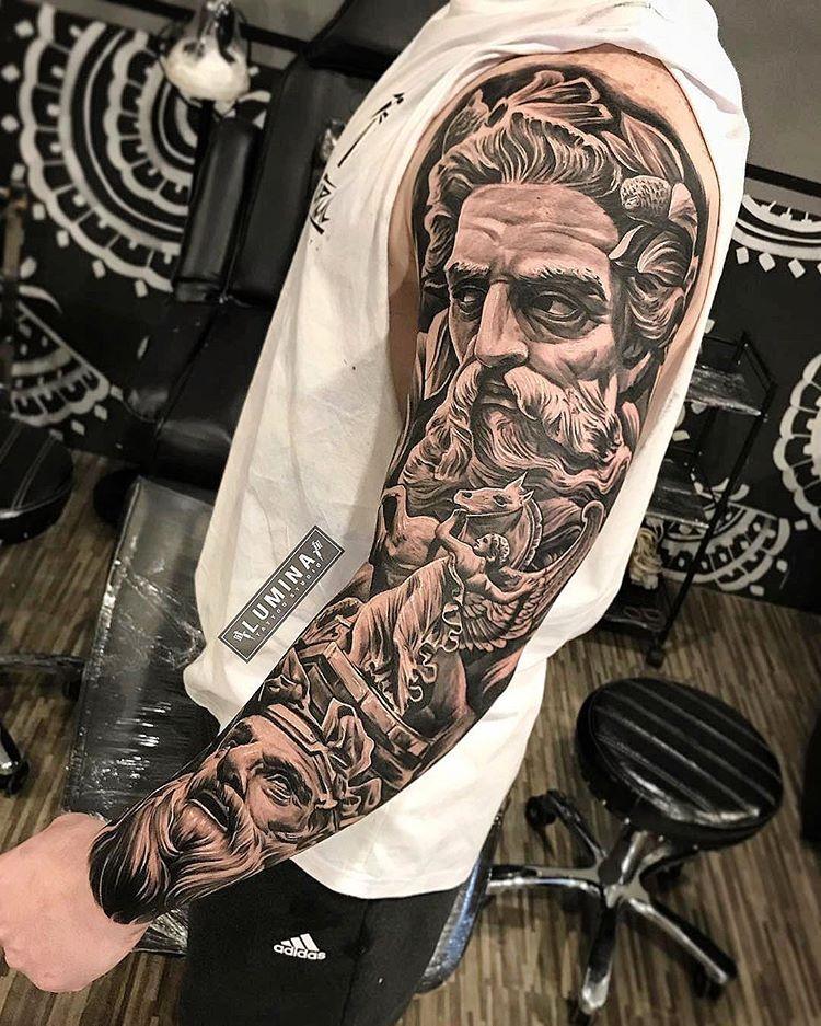 Amazing artist Dode Pras @dodepras_tattoo from @lumina_tattoo_studio awesome Poseidon angel horse renaissance tattoo sleeve! @art_spotlight…