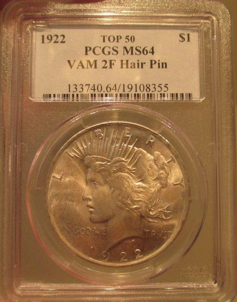 1922 Silver Peace Dollar 1 Pcgs Ms 64 Vam 2f Hair Pin Toned