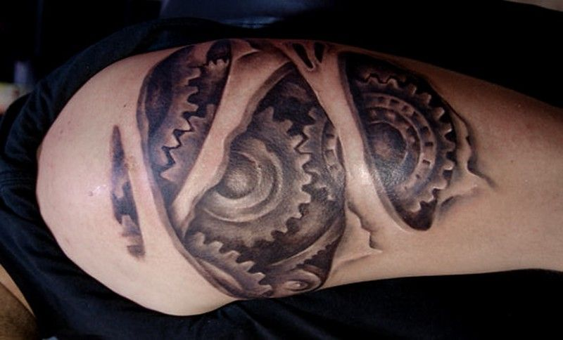 Black And White Robot Arm Tattoo With Cogwheels Under Skin