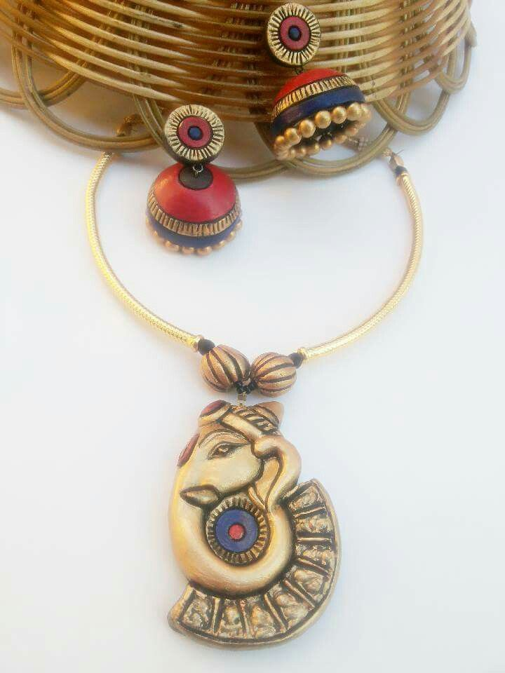 Exclusive ganesha pendant | Terracotta jewellery designs ...