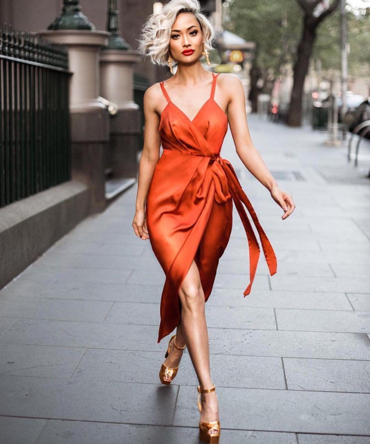 872ecd6689849 Obsessing over burnt orange #seasonsmusthave Prestige Wrap Dress ...