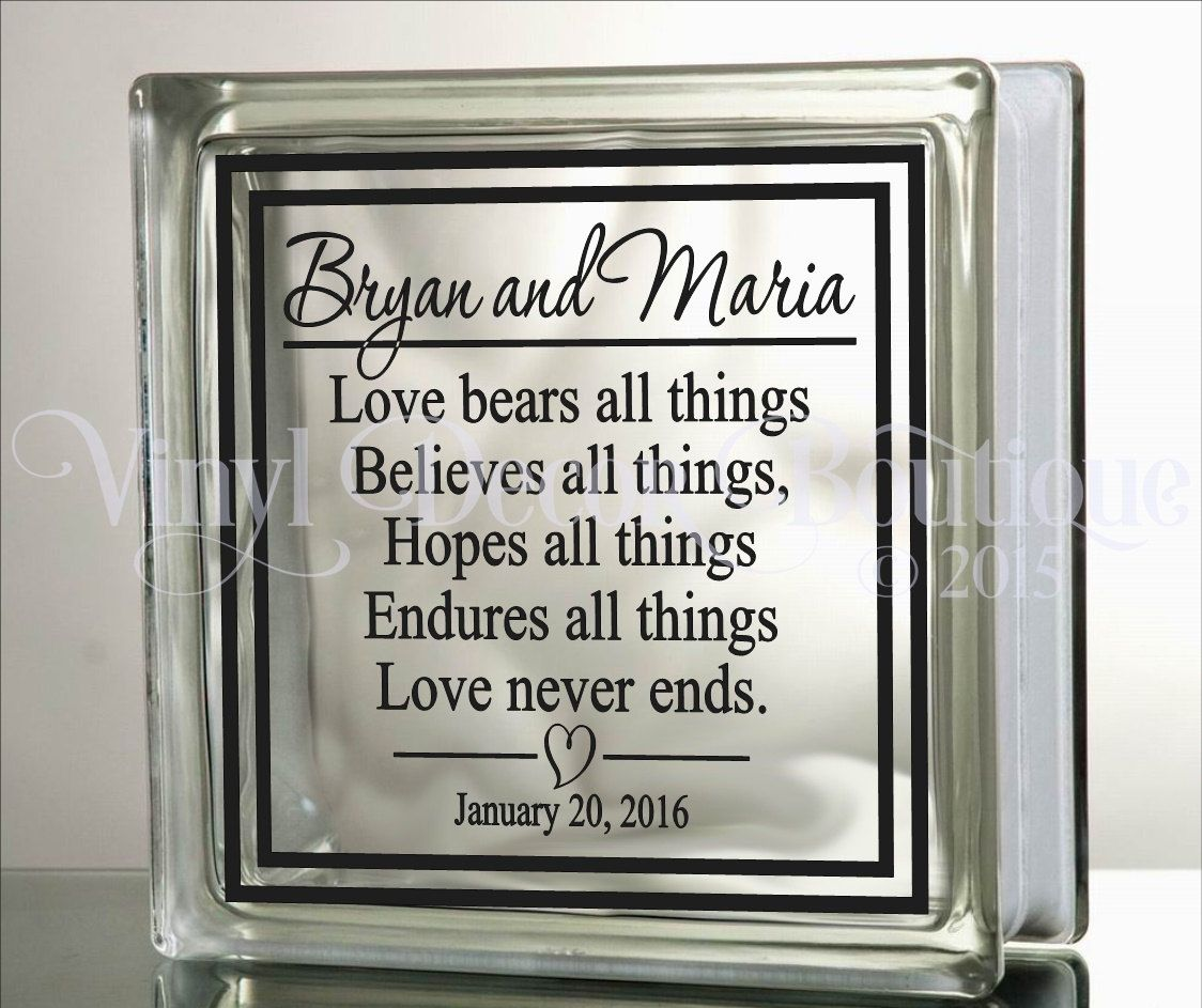 Vinyl lettering decals for crafts - Love Bears All Things Unity Wedding Anniversary Diy Glass Block Decal Vinyl Lettering Vinyl Decal By