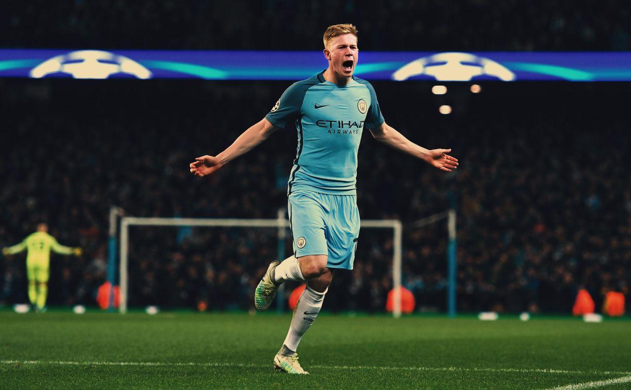 Kevin De Bruyne celebrates after scoring against Barcelona in the ...