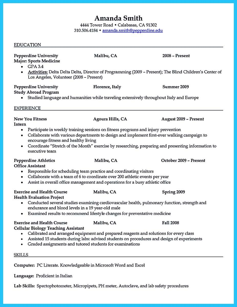 examples of athletic trainer resumes