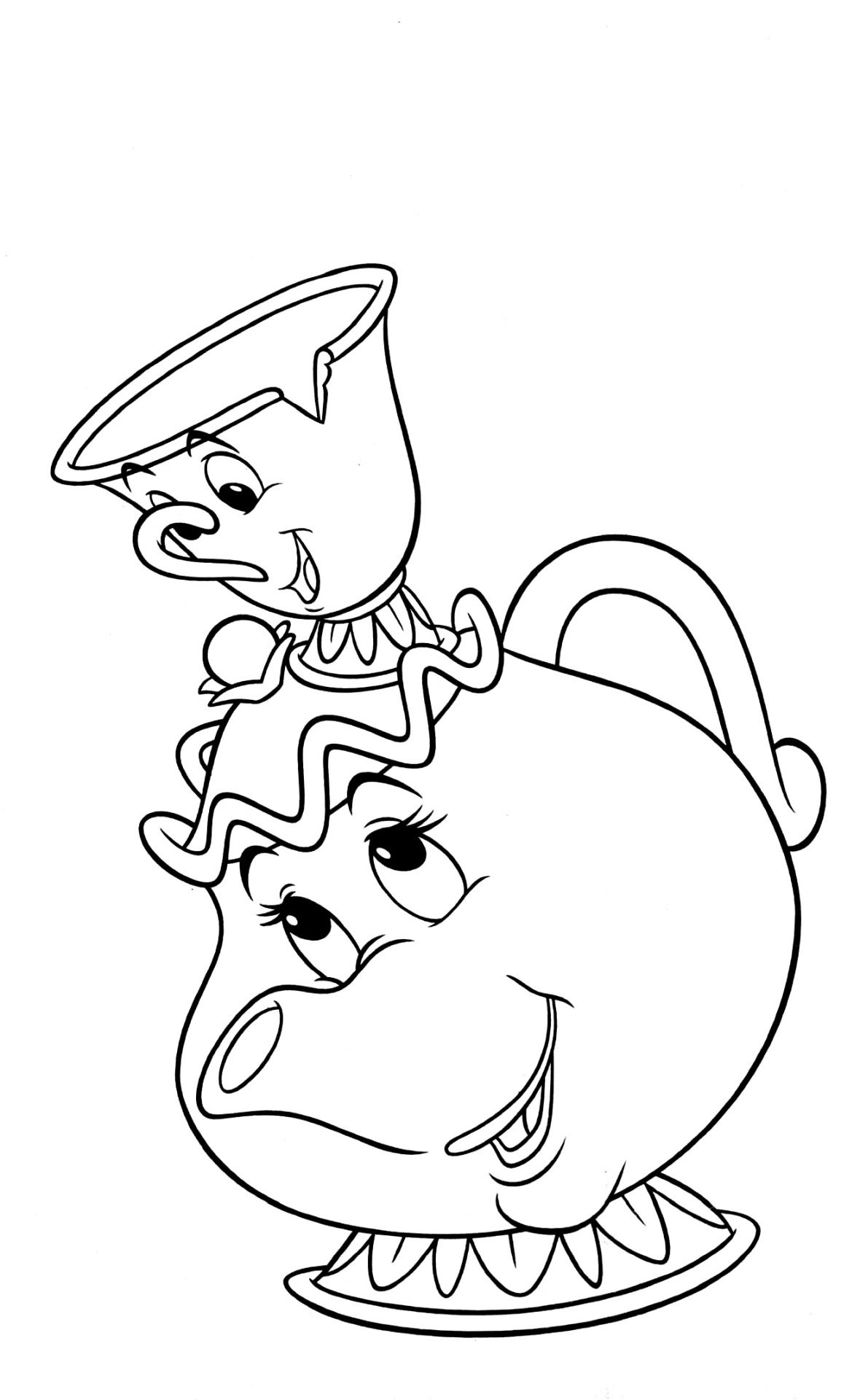 16+ Beauty and the beast chip coloring page free download