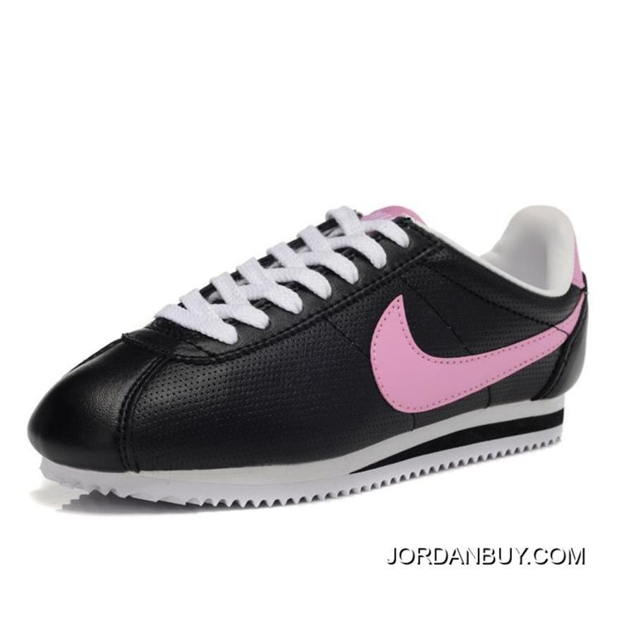 Nike Cortez Women Leather Shoes Black Pink