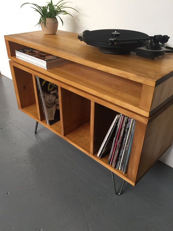 Sonor Turntable LP Vinyl Storage Unit Console Table on