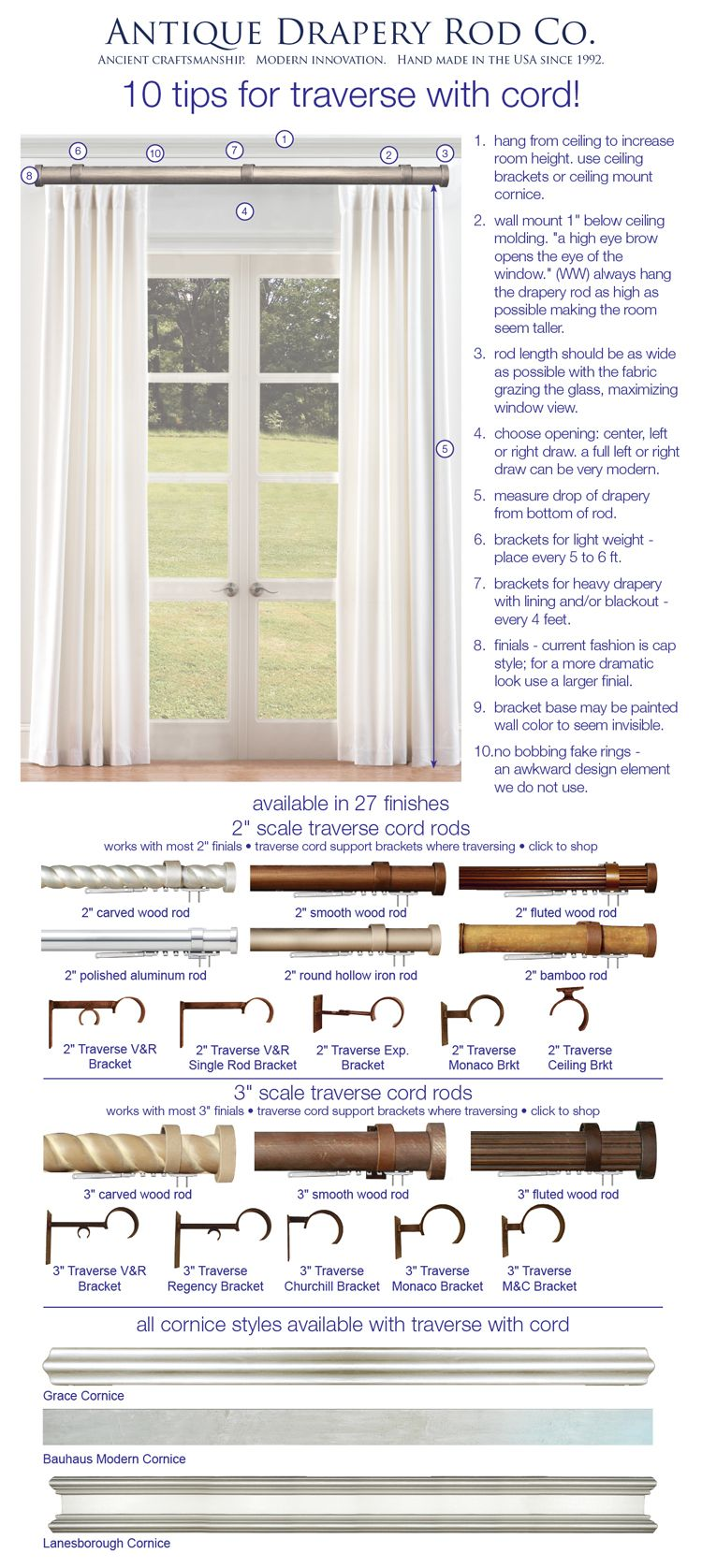 introducing antique drapery rodu0027s new corded traverse rod this is perfect for the heaviest curtains